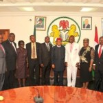 Abia state Governor, Theodore Orji flanked by the group of newly appointed Permanent Secretaries