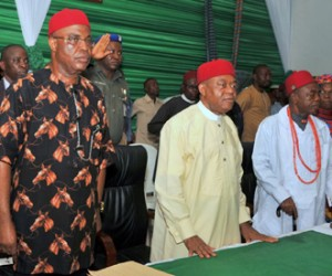 Cross section of some traditional rulers who received their staff of office from Abia state Governor, Theodore Orji at the Ministry of Local Government and Chieftaincy Affairs in Umuahia, Wednesday