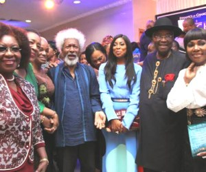 Nobel Laureate, Prof Wole Soyinka and former Federal Minister, Alabo Graham Douglas at the official launch of Governor Chubuike Amaechi's book which held at the Civic Centre, Victoria Island, Lagos, last week