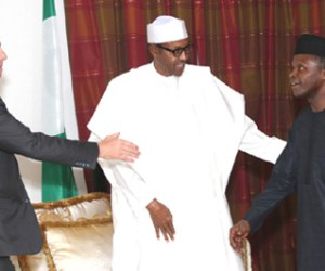 President-elect, Muhammadu Buhari receives former UK Prime Minister, Tony Blair at the Defence House in Abuja on Wednesday, 13 May 2015. Also on hand to receive Blair was the Vice President-elect, Prof. Yemi Osinbajo.