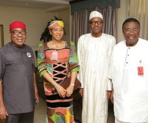 PRES ELECT RECEIVES SEN JIMMY NWOBODO 1-3; R-L; Former Governor of old Anambra State, Senator Jimmy Nwobodo, President Elect General Muhmmadu Buhari, wife of Senator Nwobodo, Barrister Mrs. Pat Jimmy-Nwobodo and A member of field Operation APC Presidential Campaign Organistion, Chief Geoffry Uguru when the Prsident Elect receives Senator Nwobodo at his resident in Abuja. MAY 4 2015. PHOTO; SUNDAY AGHAEZE