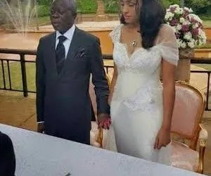 Edo State Governor, Adams Oshiomhole and newly wedded wife, Lara Fortes