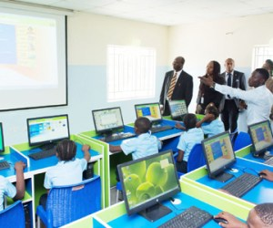 Pupils of the Innercity Mission for Children Nursery and Primary School, Ikeja, Lagos, at a demonstration session in the E-Learning Centre donated to the school by the Nigeria National Petroleum Corporation and the Shell Nigeria Exploration and Production Company... on Wednesday.