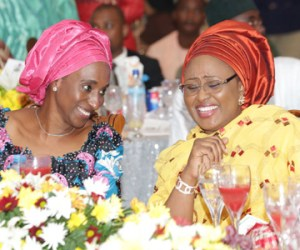 (L-R); Wife of the Vice President Mrs Dolapo Osinbajo and Wife of the President Mrs. Aisha Muhammadu Buhari during a dinner hosted by the wife of the President at the presidential villa in Abuja recently.