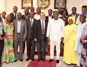 Lagos State Governor, Mr. Akinwunmi Ambode (4th right), his Deputy, Dr. (Mrs.) Oluranti Adebule (3rd right) in a group photograph with the Chief of Staff, Mr. Olukunle Ojo (2nd right), Head of Service, Mrs. Folashade Jaji (right), the Deputy Director, Integrated Delivery, Global Development of Bill & Melinda Gates Foundation, Mr. Carlos Cuellar (middle) and members of the Delegation from Bill & Melinda Gates Foundation during their courtesy visit to the Governor at the Lagos House, Ikeja, on Friday, June 19, 2015.