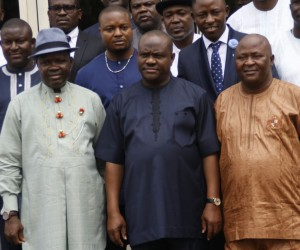 (L-R): Speaker, Rivers State House of Assembly, Mr Ikuinyi Ibani, Rivers State Governor, Nyesom Ezenwo Wike and Speaker Delta State House of Assembly, Mr Monday Ikpuya Okemeni at the Government House, Port Harcourt, Wednesday, after Governor Wike granted the Delta legislators audience.