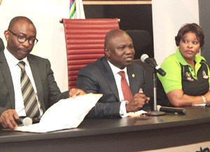 Lagos State Governor, Mr. Akinwunmi Ambode (middle), the Permanent Secretary, Ministry of Justice, Mr. Lawal Pedro, SAN (left) and the Director, Office of the Public Defender, Mrs. Omotola Rotimi (right) during his meeting with Lagos State Domestic and Sexual Violence Response Team at Lagos House, Ikeja, on Tuesday, July 21, 2015.
