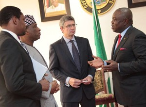 Lagos State Governor, Mr. Akinwunmi Ambode (right) discussing with the Deputy British High Commissioner, Mr. Ray Kyles (2nd right), Secretary to the State Government, Mr. Tunji Bello (2nd left) and > the Communication Manager, British High Commission, Mr. Wale Adebajo (left) during the Commission's courtesy visit to the Governor at the Lagos House, Ikeja, on Friday, July 24, 2015.