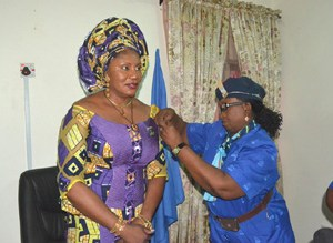 Wife of the governor of Anambra State, Chief (Mrs.) Ebelechukwu Obiano  and State Commissioner, Nigerian Girl Guides Association, Mrs. Uche Orakwute at the Investiture and Enrolment Mrs. Obiano as State Patron today in Awka, Anambra State
