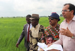 (L-R) Mr. Cosmas Maduka, Chairman, Coched Farms Ltd, Chief Willie Obiano, Governor of Anambra State and Mr Bharat Dhir, General Manager, Coched Farms Ltd during the governor's tour of Coched Farms Limited, Anaku, Ayamelum Local Government Area
