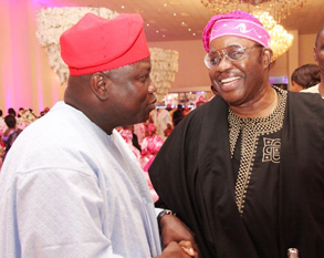 Lagos State Governor, Mr. Akinwunmi Ambode (left) with Chief Harry Akande (right) during the wedding ceremony of Oyo State Governor, Abiola Ajimobi's Daughter in Ibadan at the weekend.