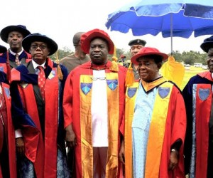 Governor, Dr. Okezie Ikpeazu (middle) flanked from L-R by Deputy VC ABSU, Prof. Elekwa, AG Pro-Chancellor and Chairman of the Governing Council of ABSU, Chief Chukwu Wachukwu, Chancellor, Sir Francis Oji and VC ABSU, Prof. Chibuzor Ogbuagu after the governor's investiture as the University Visitor at the institution's Pavilion.
