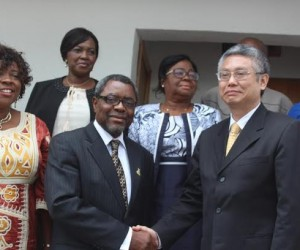 (L-R) Hon Commissioner for Education Prof Kate Omenugha, Chief of Staff to the Governor, Prof Joe Asike and Ambassador Kingdom of Thailand, His Excellency Mr Chailert Limsomboon during visit to Government House Awka Friday
