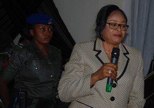 Deputy Governor of Enugu state Hon. Mrs. Cecilia Ezeilo making her speech during the valedictory court session in honour of Hon. Justice Louis Ogbonna Okereke at the Judiciary headquarters Enugu.
