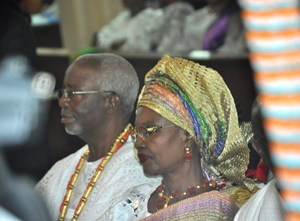 OPC Founder Dr. Frederick Fasehun and his wife, Iyabo, at the Saint Peter's Anglican Church, Ajele Street, Faji, Lagos Island, during a Thanksgiving/Communion Service marking his 80th birthday, today, September 21, 2015