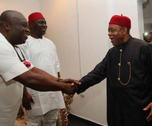 Abia state Governor Dr. Okezie Ikpeazu receiving his predecessor Sen. Theodore Orji to his office as Sen. Ike Ekweremadu Deputy Senate President watches with interest during their courtesy visit on the Governor in Umuahia.