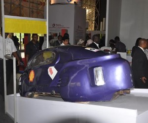 One of the student-built cars for the Shell Eco-marathon Africa contest in Johannesburg, South Africa