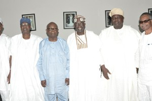 (L-R): Lagos State Governor, Mr. Akinwunmi Ambode (2nd right) with his Osun State counterpart, Ogbeni Rauf Aregbesola, National Publicity Secretarty, All Progressives Congress (APC), Alhaji Lai Mohammed, Afenifere Leader, Pa Olaniwun Ajayi, National Leader, APC, Asiwaju Bola Tinubu and Vice Chairman, South West APC, Chief Pius Akinyelure during a courtesy visit to Pa Olaniwun at his Ijebu-Ishara residence in Ogun State, recently.