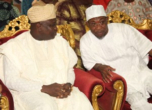 Lagos State Governor, Mr. Akinwunmi Ambode (left) with his Osun State counterpart, Ogbeni Rauf Aregbesola during the Governor's condolence visit to the Family of Late Hannah Idowu Dideolu Awolowo at their Ikenne residence in Ogun State, on Sunday, September 20, 2015.