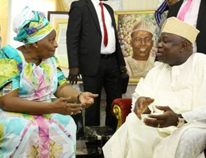 Lagos State Governor, Mr. Akinwunmi Ambode(right) commiserating with First Daughter of deceased, Mrs. Omotola Oyediran during the Governor's condolence visit to the Family of Late Hannah Idowu Dideolu Awolowo at their Ikenne residence in Ogun State, on Sunday, September 20, 2015.