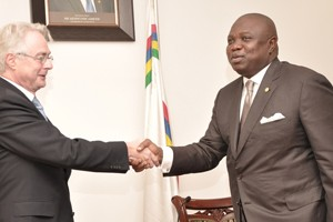 : Lagos State Governor, Mr. Akinwunmi Ambode (right) in warm handshake with the Ambassador of Republic of Germany to Nigeria, Mr. Michael Zenner (left) during his courtesy visit to the Governor, at the Lagos House, Ikeja, on Monday, September 14, 2015.