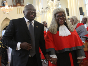 : Lagos State Governor, Mr. Akinwunmi Ambode (left) with the State Chief Judge, Justice Olufunmilayo Atilade, during the 2015/2016 Legal Year Service at the Cathedral Church of Christ, Marina, on Monday, September 28, 2015.