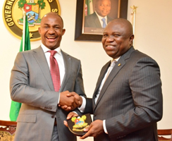 Lagos State Governor, Mr. Akinwunmi Ambode (right) presenting a state plaque to the Executive Secretary, Nigeria Christian Pilgrims Commission, Mr. John Kennedy Opara during his courtesy visit to the Governor, at the Lagos House, Ikeja, recently.