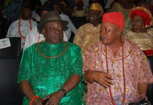 Chairman of the Peoples Democratic Party (PDP) Delta Central, Chief Tom Amioku and Delta State House of Assembly Speaker, Rt. Hon Ovwigho Igbuya during the Thank-You visit of Urhobo politicians to the Executive Governor of Delta State, Dr. Ifeanyi Arthur Okowa in Government House, Asaba, the state capital