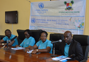 Director of the United Nations Information Centre (UNIC) Lagos, Mr Ronald Kayanja. addressing the press briefing marking the beginning of the 'Walk for Peace'