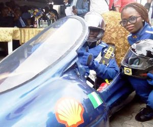 Delta Cruz on display... Students of the Federal University of Petroleum Resources, Effurun, Delta State, demonstrating their self-built energy efficient car on their campus last Thursday in readiness for the 2015 Shell Eco-marathon competition in South Africa, in October.