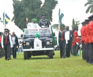 Lagos State Deputy Governor, Dr. (Mrs.) Oluranti Adebule in a motorcade inspecting the guard of honor to mark the 55th Independence Anniversary of Nigeria at the Police College ground, Ikeja, Lagos, on Thursday, October 01, 2015.