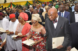Cross Section of the newly appointed Commissioners and Special Advisers taking oaths of Office, being conducted by the Director, Legislative Drafting, Ministry of Justice, Mrs. Tola Akinsanya, before Governor Akinwunmi Ambode, during their Swearing-in ceremony at the Adeyemi Bero Auditorium, the Secretariat, Alausa, Ikeja, on Monday, October 19, 2015.