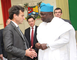 (R-L): Lagos State Governor, Mr. Akinwunmi Ambode (right) discussing with Partner, Kohniberg Kravis Roberts & Co., Mr. Dominique Lafont while the France Ambassador to Nigeria, Mr. Denys Gauer (middle), watches during the courtesy visit to the Governor by the Movement of the Enterprises of France, at the Lagos House, Ikeja, on Tuesday, October 06, 2015.