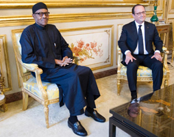 President Muhammadu Buhari and the French President, Mr François Hollande, at a recent meeting in New York, United States, during the United Nations General Assembly
