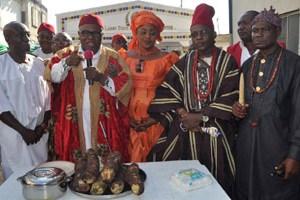 New Yam Festival (L-r) : Leader Movement of the Actualization of the Sovereign State of Biafra (MOSSOB) Chief Ralph Uwazuruike,Eze Ndigbo of Lagos (IGBO 1) Dr Christian Nwachukwu, his wife Lolo Nkeiruka, Chief Clifford Nzeruem, and Eze Enwemadu Chimezie  at the New yam Festival (Iri-ji) Ndigbo in Lagos Organized by Eze Ndi Igbo   head at Okota Lagos, at the weekend.