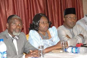 (L-R): Deputy President, NIQS, Mercy Iyortyer, President, NIQS, Murtala Aliyu and Vice-President, NIQS,  Adegbemiro Ogunfidodo, during the 26th biennial conference/General Meeting to put forward the activities of the institution on their one week National Conference to be held at Oriental Hotel Lagos starting from today, held in Lagos, Monday