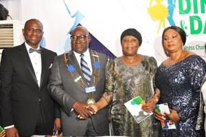 (L-R): MD/CEO Airtel Nigeria, Segun Ogunsanya; Board Chairman, International Chamber of Commerce (ICC) Nigeria, Babatunde Savage; former CJN, Hon. Justice Aloma Mukhtar (GCON) and ICC Nigeria Treasurer, Dorothy Ufot (SAN) during the 2015 Annual Dinner & Dance of ICC Nigeria in Lagos on Friday.