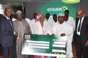 (L-R): Vice President, Regulatory and Corporate Affairs, Etisalat Nigeria, Mr. Ibrahim Dikko; Vice Chancellor, Modibbo Adama University of Technology, (MAUTECH), Yola, Prof. Kyari Mohammed; Information Officer, MAUTECH, Hajiya Halima Bala; Student Affairs Officer, MAUTECH, Alhaji Mohammed Bakari, and the Deputy Director, Colleges of Education, Federal Ministry of Education, Mr. Ezekiel Funsho at the 2015 Etisalat Merit Awards held in Abuja on Thursday, November 12.