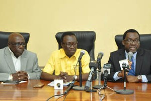 (R-L): Commissioner for Information & Strategy, Mr. Steve Ayorinde; General Manager, Lagos State Public Works Corporation (LSPWC), Engr. Ayotunde Sodeinde and Permanent Secretary, Ministry of Information & Strategy, Mr. Fola Adeyemi, during a media briefing on the ongoing rehabilitation and reconstruction of some roads in the State, at the Bagauda Kaltho Press Centre, the Secretariat, Alausa, Ikeja, on Tuesday,