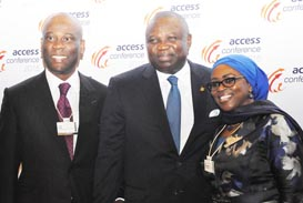 Lagos State Governor, Mr. Akinwunmi Ambode (middle), flanked by Chief Executive Officer/ Group Managing Director, Access Bank, Mr. Herbert Wigwe (left) and Chairperson, Access Bank, Nigeria, Mosun Bello-Olusoga (right), during the Access Leadership Conference 2015 with the theme - Leading a Transformational World: The Imperative of Innovation, at the Eko Hotels & Suites, Victoria Island, Lagos, on Thursday