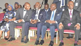 (R-L): Lagos State Governor, Mr. Akinwunmi Ambode (2nd right), Chief Executive Officer/ Group Managing Director, Access Bank, Mr. Herbert Wigwe; former Chairman, Board of Access Bank Plc., Mr. Gbenga Oyebode; President, Nigeria Stock Exchange (NSE), Mr. Aigboje Aig-Imoukhuede and Chairperson, Access Bank, Nigeria, Mosun Bello-Olusoga, during the Access Leadership Conference 2015 with the theme - Leading a Transformational World: The Imperative of Innovation, at the Eko Hotels &Suites, Victoria Island, Lagos, on Thursday,