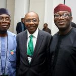 (Photonews)  CBN Gov. Emefiele with Chief Audu Ogbeh and Dr Kayode Fayemi at Bankers' Committee retreat
