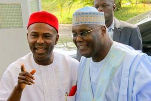 "Former Vice President Atiku Abubakar and Dr Ogbonnaya Onu at the public presentation of Onu's book, ""From Opposition to Governing Party: Nigeria's APC Merger Story"" at Yar'Adua Center, Abuja on Monday,"