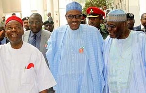 """(L-R): Minister of Science and Technology Dr Ogunnaya Onu, President Muhammadu Buhari and former Vice President Atiku Abubakar on arrival at Yar'Adua Center for the public presentation of the book """"From Opposition to Governing Party: Nigeria's APC Merger Story""""  written by Onu in Abuja on Monday"""