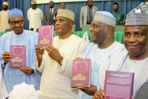 President Muhammadu Buhari, former Vice President Atiku Abubakar, Governor Aminu Tambuwal, others at Dr Ogbonnaya Onu's book launch at Yar'Adua Centre, Abuja on Monday