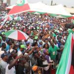 Senate President, Dr. Saraki addresses supporters during PDP campaign rally