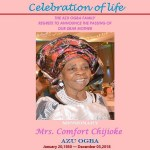 Mrs. Comfort Chijioke Azu Ogba passes on; Family organizes Celebration of Life in New Jersey, USA, in her honor
