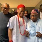 Anyaoku, Obi receive Obasanjo at Obosi, Anambra State