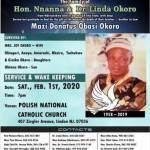 Service of Songs for late Mazi Donatus Okoro holds today in New Jersey, USA