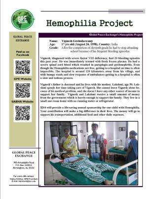 Flier for Hemophilia Project (JPEG format)